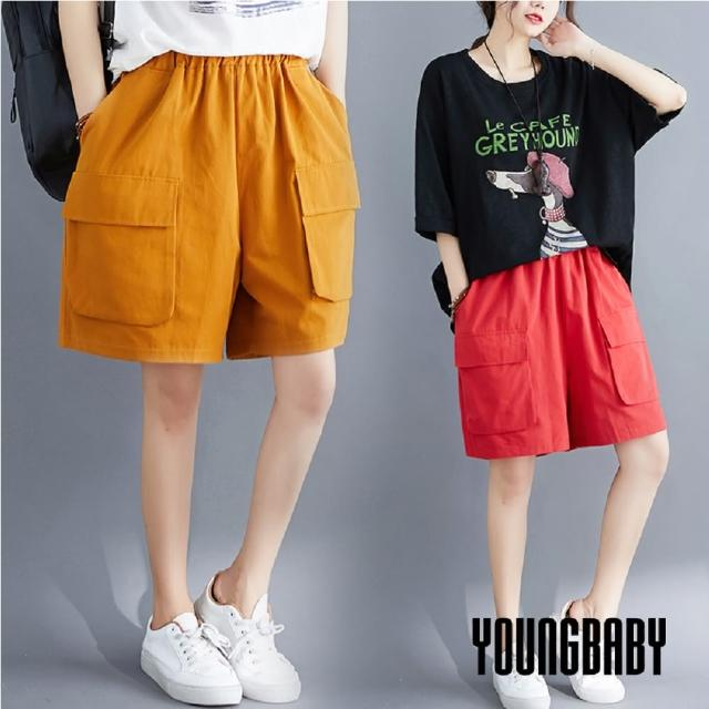 【YOUNGBABY】鬆緊腰大方型口袋加蓋直筒休閒短褲(共3色)