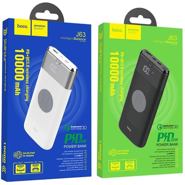【HOCO】J63 PD 無線充電移動電源10000mAh 輸出USB to TypeC 輸入(無線充電盤/行動電源)