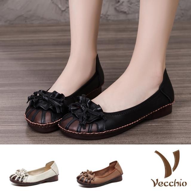 【Vecchio】真皮娃娃鞋 低跟跟鞋/全真皮柔軟羊皮縫線花結造型典雅低跟鞋(4色任選)