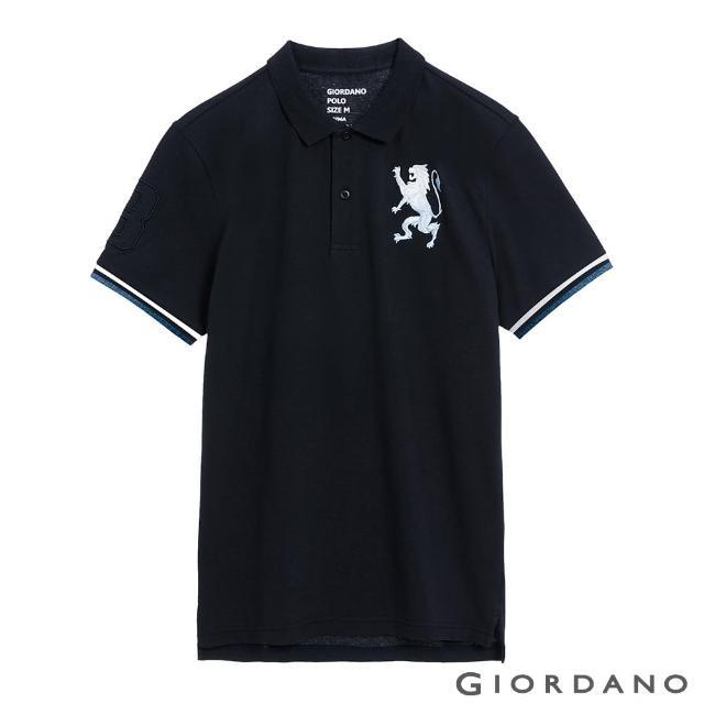 【GIORDANO 佐丹奴】男裝勝利獅王刺繡POLO衫(28 標誌海軍藍)