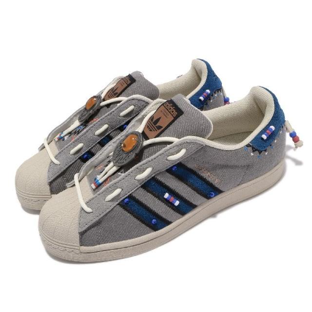 【adidas 愛迪達】休閒鞋 Superstar Laceless 男鞋 愛迪達 貝殼頭 民俗風 流蘇串珠 穿搭 灰 藍(S29064)