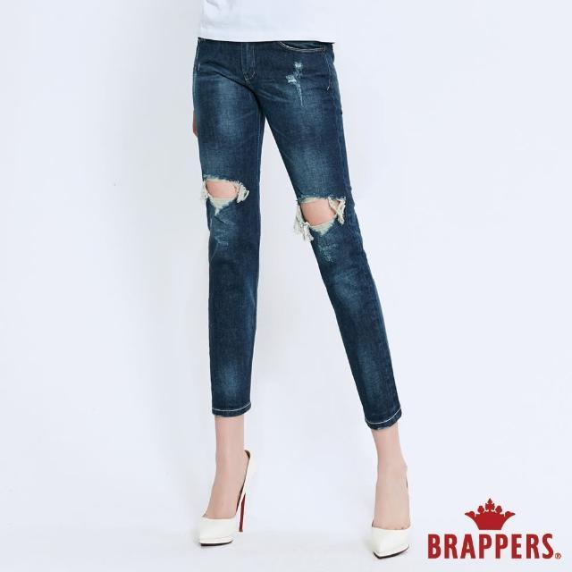 【BRAPPERS】女款 Boy friend系列-中低腰彈性膝蓋割破八分反摺褲(深藍)