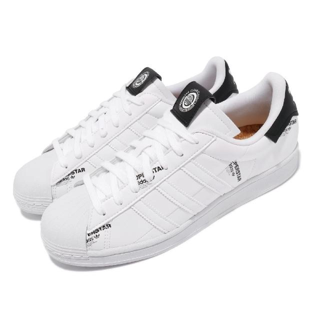 【adidas 愛迪達】休閒鞋 Superstar 貝殼頭 男女鞋 愛迪達 經典款 簡約 標語設計 情侶穿搭 白 黑(GV7671)