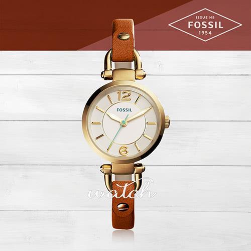 【FOSSIL】氣質首選_皮革錶帶_強化玻璃_指針女錶(ES4000)