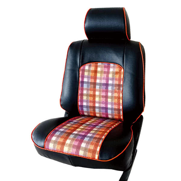 【葵花】量身訂做-汽車椅套-日式合成皮-格紋配色-B款(休旅車-5-8人座款第1+2排)