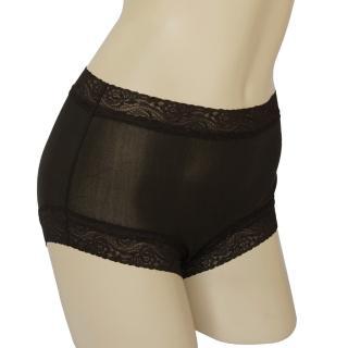 【賽凡絲】純蠶絲蕾絲平口蠶絲褲2件組(黑色)