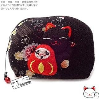 【和風招財貓】日本˙福氣八寶貓咪鈴鐺化妝包(黑色)