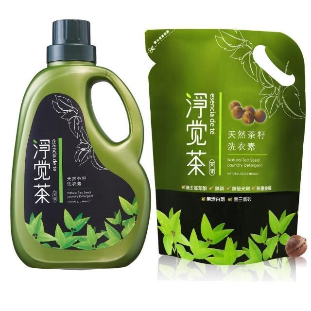 【淨覺茶】茶籽洗衣素2.3kg+補充包1.8kg(2.3kgx1+1.8kgx12)/