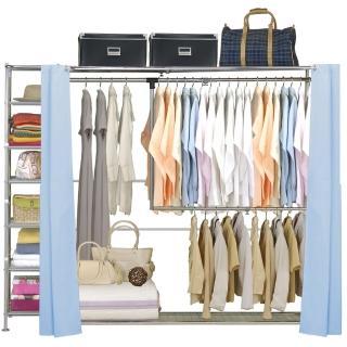 【巴塞隆納】雙層雙桿伸縮衣櫥(附34公分收納櫃)