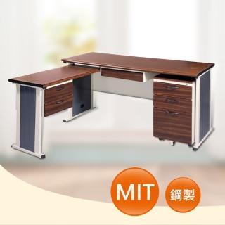 【時尚屋】150CM 胡桃木紋色辦公桌+側桌櫃組(246-4)