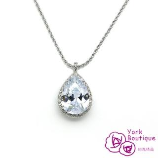 【約克精品】水美人施華洛元素晶鑽包銠金項鍊(SGS認證)