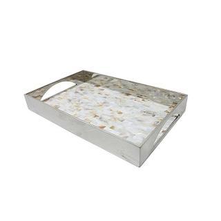 【Finara費納拉】天然貝殼馬賽克拼接不鏽鋼托盤-S(收納盤/茶盤/餐盤)