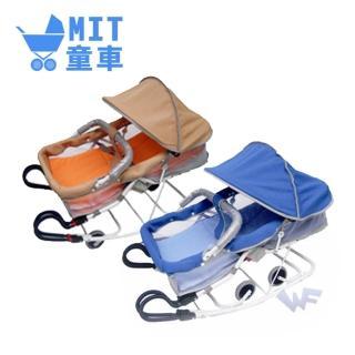 【MIT台灣童車】雙管加寬分段彈搖椅(藍 / 卡其)
