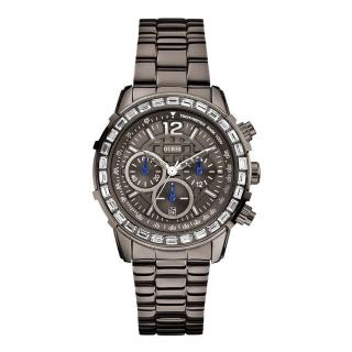 【GUESS】重現格紋魅影三眼時尚腕錶(鐵灰W0016L3)
