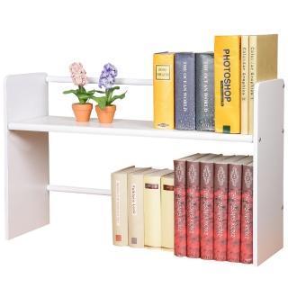 【Homelike】和風伸縮式桌上書架(純白色)