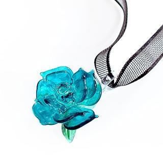 【伊飾童話】真情藍凡爾賽*光透玫瑰緞帶項鍊
