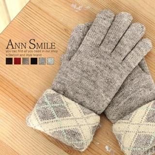【微笑安安】毛絨內裡-翻折格紋針織手套(紅色)
