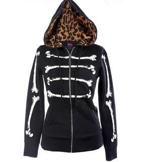 【摩達客】美國艾薇兒品牌(Abbey Dawn)黑色骷髏趣味帽T夾克