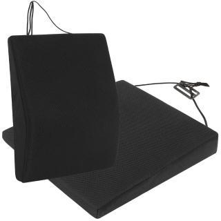 【源之氣】竹炭透氣記憶可調式腰墊+透氣斜坡記憶坐墊組合(黑色)
