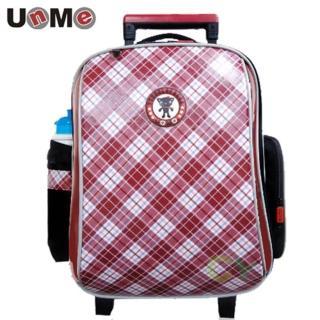 【UnMe】高年級紅格風拉桿後背兩用書包(魅力紅)
