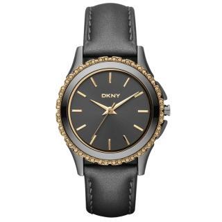 【DKNY】絕代魅力晶鑽都會腕錶-黑金(NY8703)
