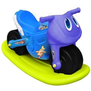 【寶貝樂】小爵士摩托車造型學步助步車附搖搖板(藍)