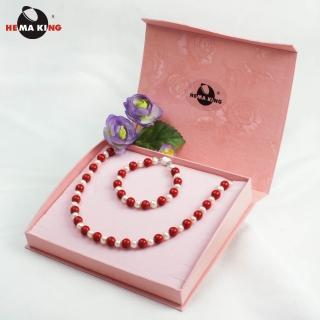 【HEMAKING】珊瑚色磁性健康珠項鍊-美麗一世