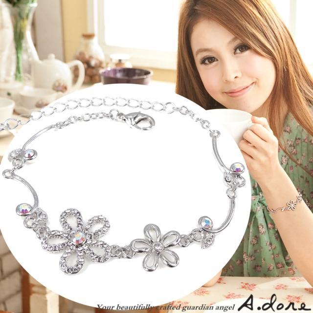 【A.dore】絢麗五瓣水晶花葉˙鑽飾手鍊(銀白K˙晶白鑽)