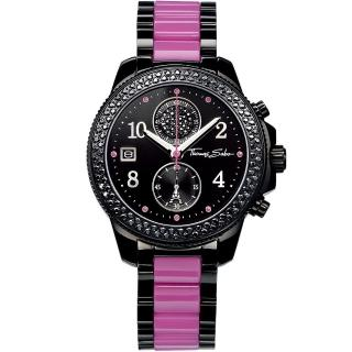 【Thomas Sabo】It Girl 艾菲爾鐵塔計時玻麗腕錶-黑/紫(WA0128)