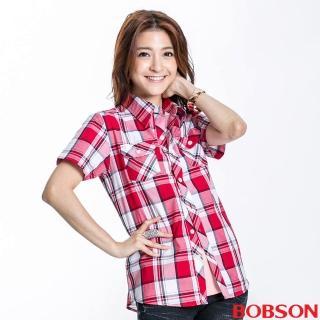 【BOBSON】女款格紋短袖襯衫(紅23132-13)