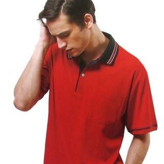 【per GIBO】條領紅底鳥眼排汗短袖男POLO衫(D13502)