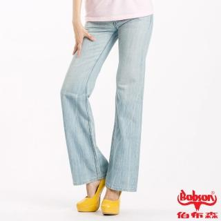 【BOBSON】女款寬潮作喇叭褲(藍58)