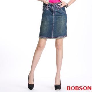 【BOBSON】女款雙腰頭牛仔短裙(藍53)