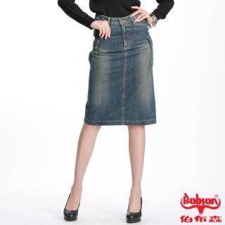 【BOBSON】女款刷白貼口袋中長牛仔裙(藍D062-53)