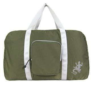 【agnes b.】蜥蜴輕量質銀邊雙槓旅行袋附小袋(墨綠)