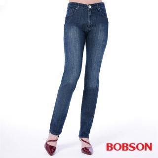 【BOBSON】女款高腰刺繡鑽飾小直筒褲(藍8101-52)