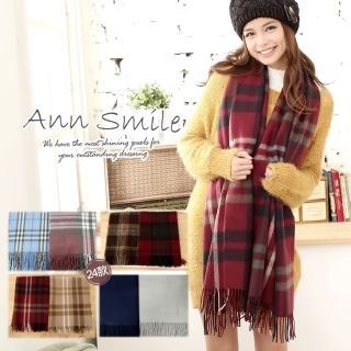 【微笑安安】韓製英倫學院風中款毛料圍巾/披肩(16款)
