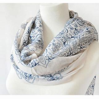 【Decoy】復古青花瓷*雪紡仿真絲圍巾/二色
