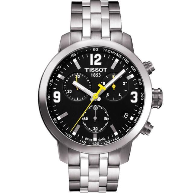 【TISSOT】PRC 200 競速三眼計時腕錶-黑/銀/42mm(T0554171105700)網路熱賣