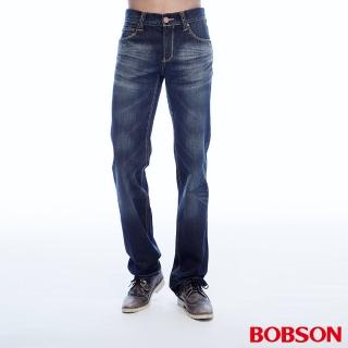 【BOBSON】男款貓鬚刷白直筒褲(1785-52)