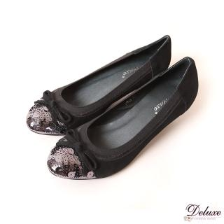【☆Deluxe☆】復古洗鍊-小圓頭閃閃亮片閃布低跟包鞋(★黑)