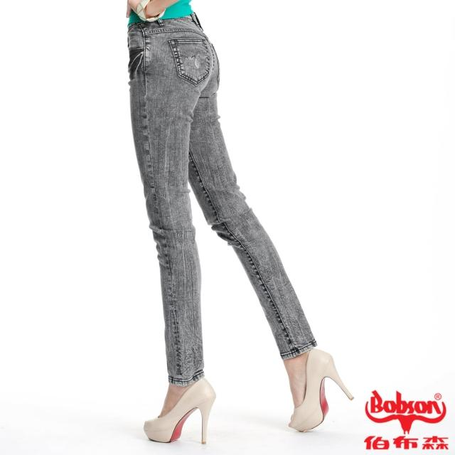 【BOBSON】女款30度雪俏小直筒褲(灰黑87)熱銷產品