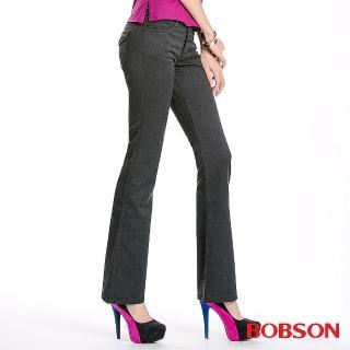 【BOBSON】女款混紡毛料小喇叭褲(深灰87)