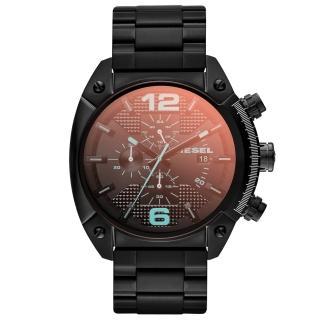 【DIESEL】機械型男個性三環時尚腕錶(鋼帶-黑 DZ4316)