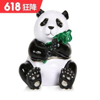 【三卡寶精品】熊貓抱竹子晶鑽(珠寶盒)