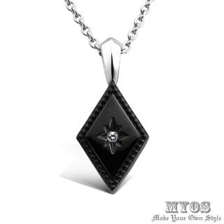 【MYOS】幸福永恆 珠寶級西德鋼 項鍊(黑色大墜)