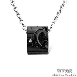 【MYOS】為你守護 珠寶級西德鋼 項鍊(黑色大墜)