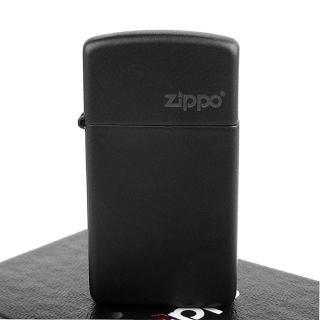 【ZIPPO】美系-LOGO字樣打火機-Black Matte黑色烤漆(窄版)
