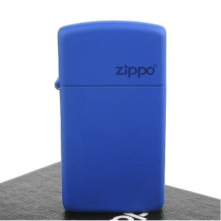 【ZIPPO】美系-LOGO字樣打火機-Royal Blue Matte寶藍烤漆(窄版)