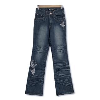 【RH】蝴蝶花邊立體晶鑽喇叭牛仔褲(深藍全尺碼)